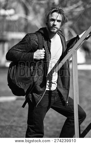 Active Concept. Active Man With Backpack Outdoor. Active And Healthy Lifestyle. As Active As You Dar