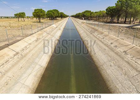 Tajo-segura Irrigation Watercourse Canal Next To La Roda City, Province Of Albacete, Castilla La Man