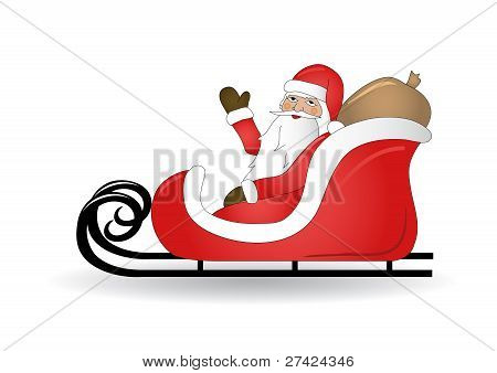 Smiling Santa Claus with sled