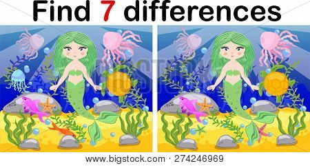Find Differences, Game For Children, Mermaid Underwater In Cartoon Style, Education Game For Kids, P