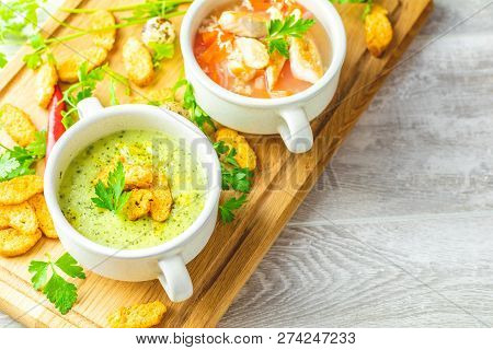 Concept Of Healthy Vegetable And Legume Soups. Vegetables Soup With Carrot, Eggs And Chicken, Mushro