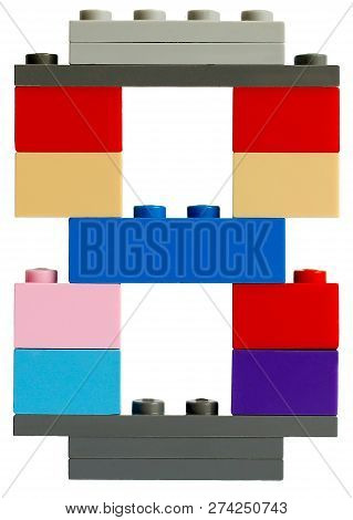 number 8 is made of plastic constructor, close-up, on a transparent background (png) poster