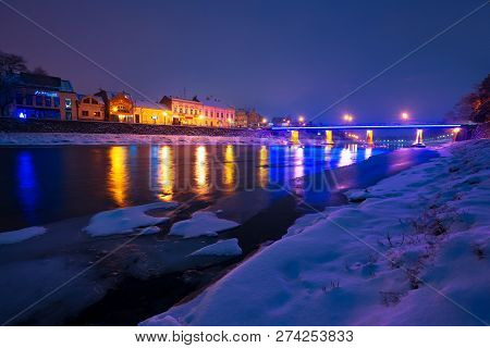 Uzhgorod, Ukraine - Dec 26, 2016: Beautiful Evening Cityscape Of Old European Town Uzhgorod In Winte