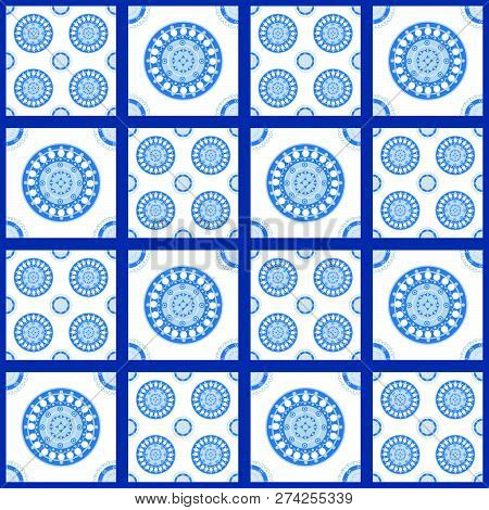 Blue And White Seamless Pattern For Ceramic, Porcelain, Chinaware Design