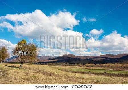 Rural Fields In Mountains. Sunny Springtime Landscape. Beautiful Cloudscape On A Blue Sky