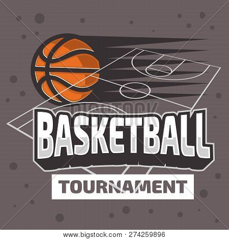 Basketball Themed  Design With Basketball Court And A Ball Vector Graphic