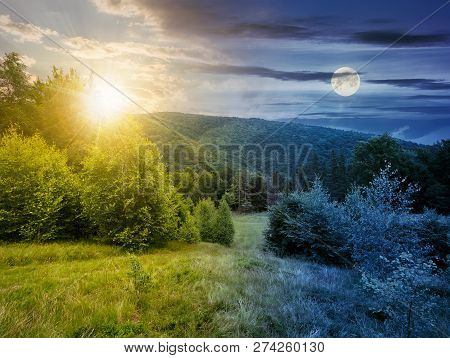 Day And Night Time Change Concept. Forested Area In Mountains With Sun And Moon. Calm Nature With Gr