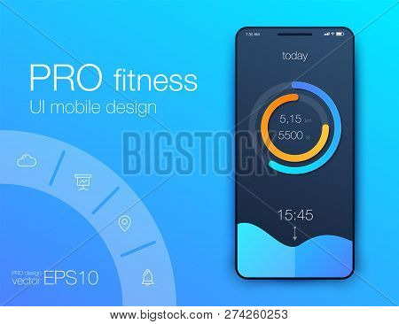 Fitness App. Ui Ux Design. Ui Design Concept With Web Elements