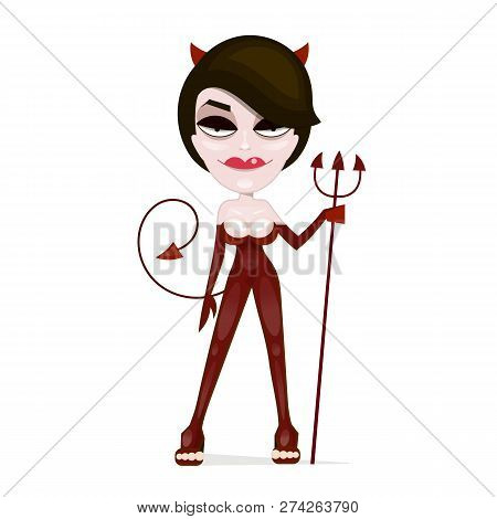 Sexy Smiling Halloween Red Devil Girl With Pitchfork