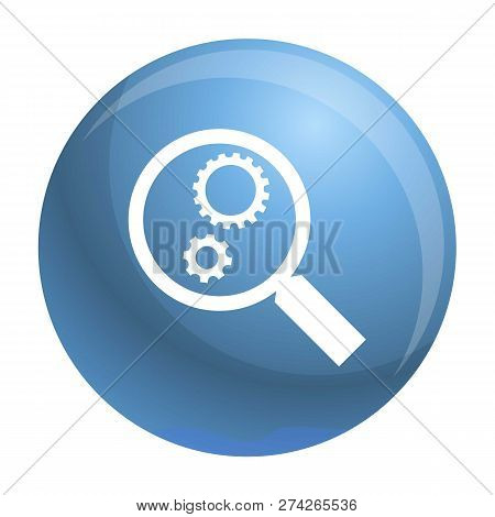 Gear On Magnify Glass Icon. Simple Illustration Of Gear On Magnify Glass Icon For Web Design Isolate
