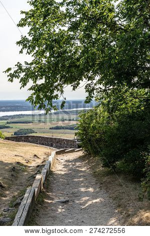 Vertical Landscape Of A Dirt Path Leading To The Champlain Lookout On A Sunny Day In Gatineau Park