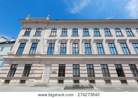 VIENNA, AUSTRIA - JULY 2018 : Exterior of Albertina in the Innere Stadt (First District) of Vienna, Austria on July 17, 2018. Albertina is an Art museum houses important master prints, drawings.