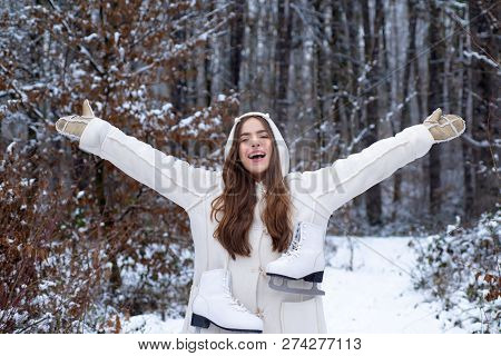 Outdoors. Women On Mountain. Winter Woman Happy. Winter Woman Snow. Global Cooling. Women In Winter