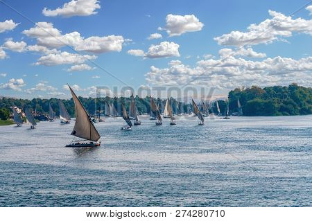 Feluccas Sailing Along The Nile River At Aswan - Egypt