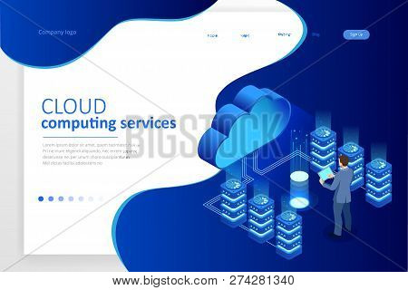 Web Page Design Templates Cloud Computing Concept. Isometric Cloud Services. Internet Technology. On