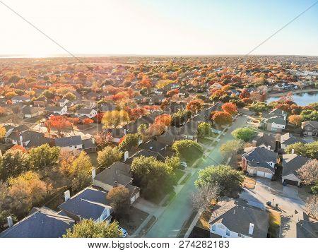 Top View Lakeside Houses And Fall Foliage Near Dallas, Texas