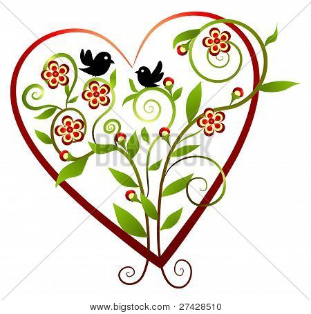 Flowers - heart with two birds
