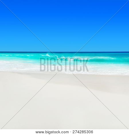 Seascape Background Of Seychelles, Praslin Island, Tropical Beach Anse Georgette With White Sand And