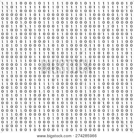 Background With Digits On Screen. Binary Code Zero One Matrix White Background. Banner, Pattern, Wal