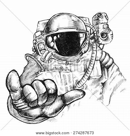 Hand Drawn Fantastic Astronaut Or Cosmonaut In Helmet And Spacesuit With Hand Showing Bulging Thumb