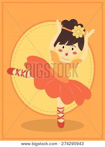 Ballerina Girl With Orange Dress Tutu Dancing Ballet In Orange Theme Background