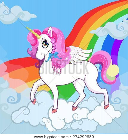 Multicolor Vector Cartoon Baby Illustration Of White Pony Unicorn Princess Character With Big Eyes,
