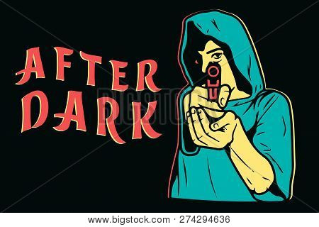 After Dark Street Art, Aiming With Pistol In Front View Isolated Vector Illustration