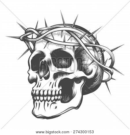 Human Skull In Thorns Wreath Drawn In Tattoo Style. Vector Illustration.
