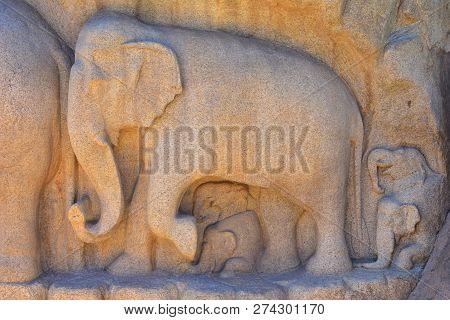 Chennai, Tamilnadu - India - September 09, 2018: Arjuna's Penance A Large Rock Carving