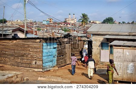 Accra, Ghana - October 2,2013: Development Of Residential Infrastructure Of Ghana Slowed Due Poverty