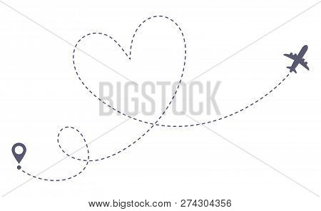Love Airplane Route. Romantic Travel, Heart Dashed Line Trace And Plane Routes Isolated Vector Illus