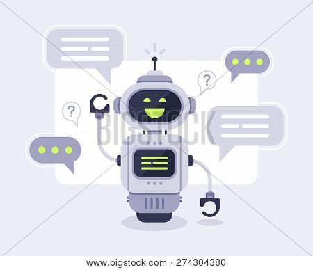Chat Bot Messages. Smart Chatbot Assistant Conversation, Online Customer Support Robot And Talking T