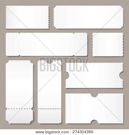 Blank Ticket Template. Festival Concert Tickets, White Paper Coupon Card Layout And Cinema Admit One