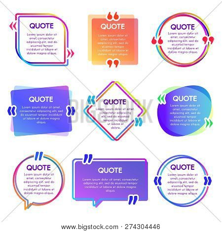 Quote Box Frame. Mention Text Frames, Remark Speech Bubble And Sentences Quotes Words Boxes Vector S