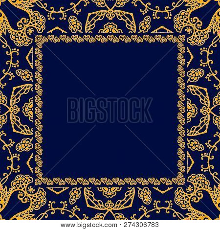Square Greeting Or Invitation Card With Space For Text And Ornamental Yellow Frame On Dark Blue Back