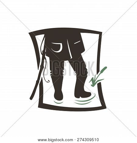 Silhouette Of Angler Man. Vector Illustration Icon. Logotype Of The Fishing Shop.