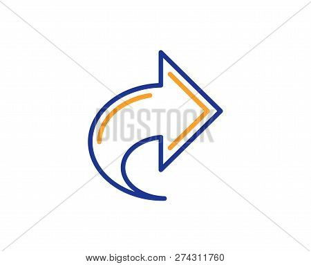 Share Arrow Line Icon. Link Arrowhead Symbol. Communication Sign. Colorful Outline Concept. Blue And