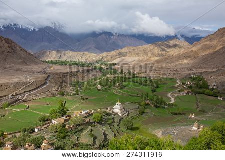 The view from the roof of the monastery of Likir (Likir Gompa), Leh district, Ladakh, Himalayas, Jammu and Kashmir, Northern India