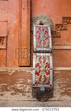 Lock system at the ancient buddhist Likir monastery in Ladakh, India