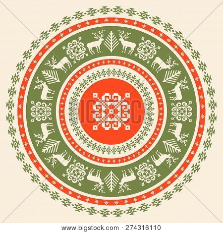 Circular Ornamental Background Of Tradition Christmas Elements