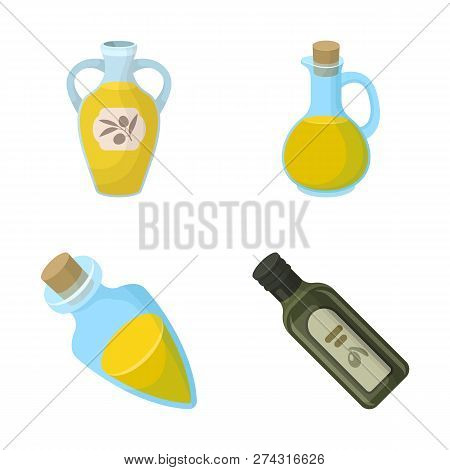 Vector Illustration Of Food  And Bung Sign. Set Of Food  And Oil  Stock Vector Illustration.