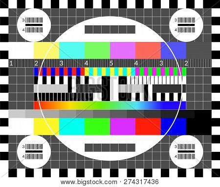 Retro Tv Test Screen. Old Calibration Chip Chart Pattern.