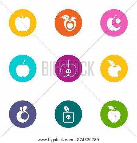 Applesauce Icons Set. Flat Set Of 9 Applesauce Icons For Web Isolated On White Background