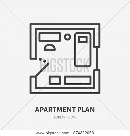 Apartment Plan Flat Line Icon. Vector Thin Sign Of Room Layout, Condo Rent Logo. Real Estate Illustr