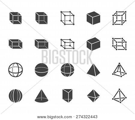 Geometric Shapes Flat Glyph, Line Icons Set. Abstract Figures Cube, Sphere, Cone, Prism Vector Illus