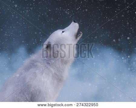 3d Rendering Of A Majestic White Wolf Sitting Down And Howling Surrounded By Magical Snow.