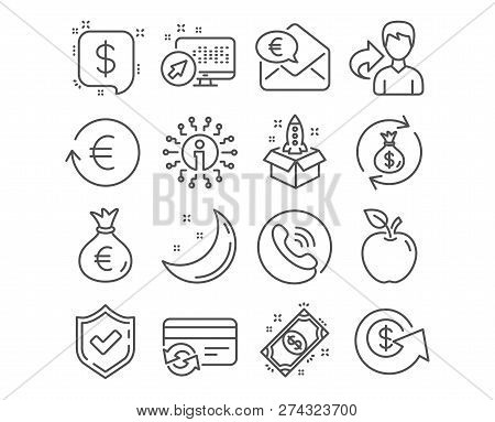 Set Of Money Exchange, Money Bag And Dollar Exchange Icons. Payment Message, Change Card And Startup