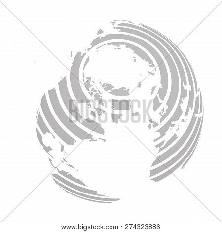 Earth Globe With Grey Striped World Land Map Focused On North America And Antarctica With North Pole