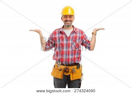 Friendly Builder Holding Hands As Blank Copyspace For Comparison And Balance Concept Isolated On Whi
