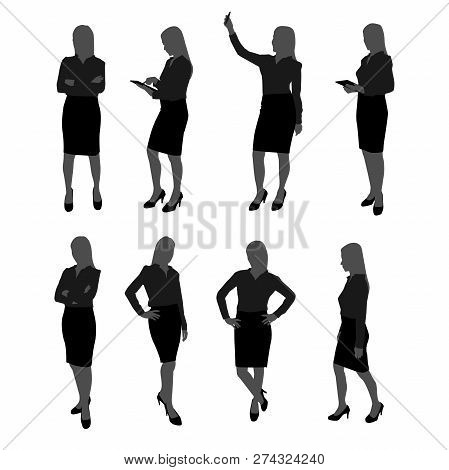 Vector Set Of Stand Businesswoman Silhouette. Businesswoman With Different Action Such As Using Mobi